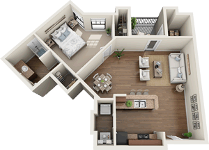 The Aberdeen - One Bedroom / One Bath - 765 Sq. Ft.*