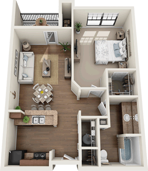 The Bradford - One Bedroom / One Bath - 727 Sq. Ft.*