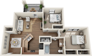 The Cambridge - Two Bedroom / One Bath - 863 Sq. Ft.*