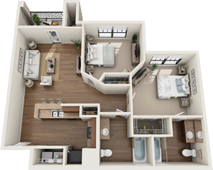 The Devonshire - Two Bedroom / Two Bath - 882 Sq. Ft.*
