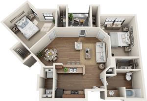 The Manchester - Two Bedroom / One Bath - 881 Sq. Ft.*