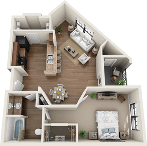 The Sheffield - One Bedroom / One Bath - 733 Sq. Ft.*